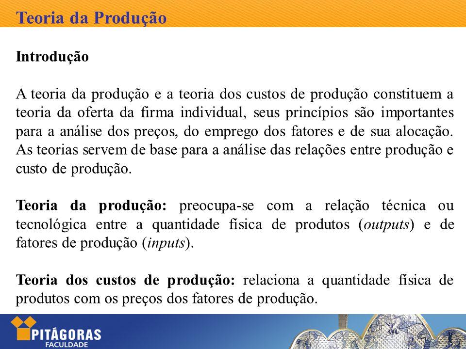 Teoria da Produção Introdução A teoria da produção e a teoria dos custos de produção constituem a teoria da oferta da firma individual, seus princípio