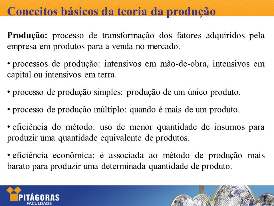 Conceitos básicos da teoria da produção Produção: processo de transformação dos fatores adquiridos pela empresa em produtos para a venda no mercado. p