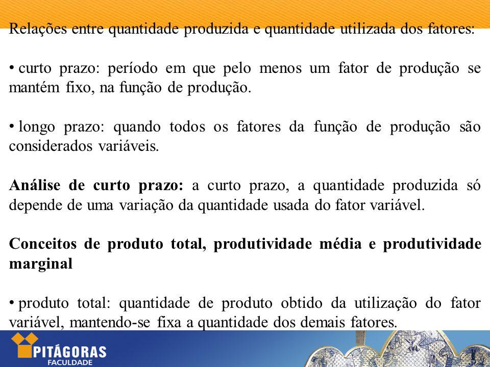 Relações entre quantidade produzida e quantidade utilizada dos fatores: curto prazo: período em que pelo menos um fator de produção se mantém fixo, na