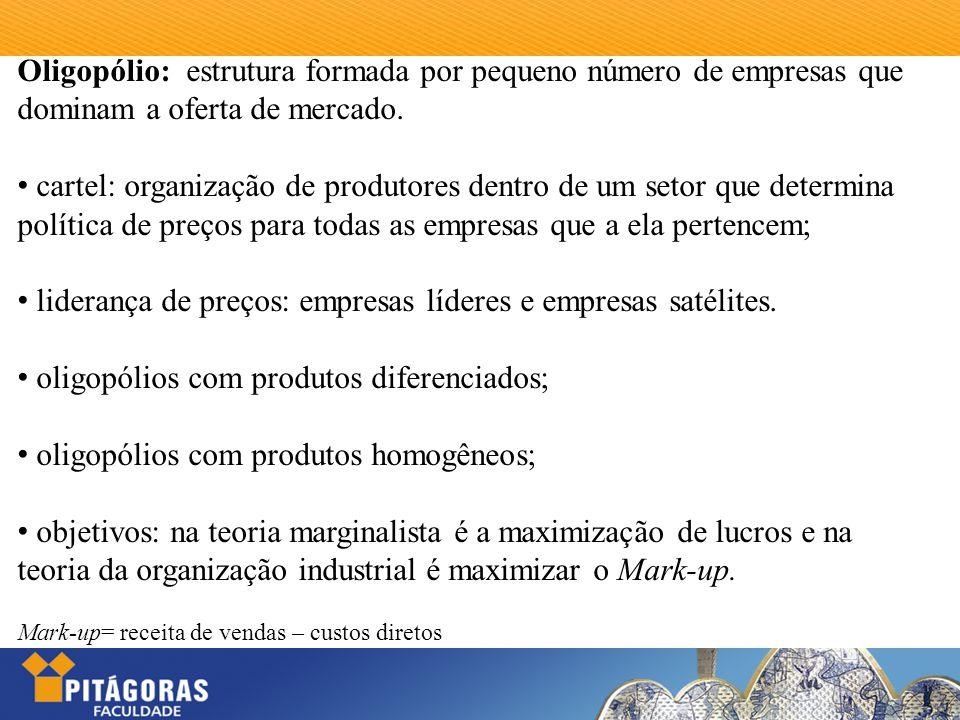 Oligopólio: estrutura formada por pequeno número de empresas que dominam a oferta de mercado. cartel: organização de produtores dentro de um setor que