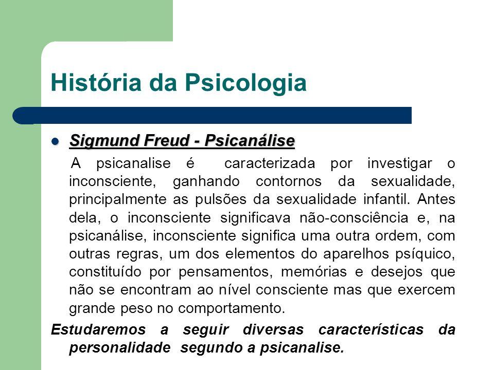 História da Psicologia Sigmund Freud - Psicanálise Sigmund Freud - Psicanálise A psicanalise é caracterizada por investigar o inconsciente, ganhando c