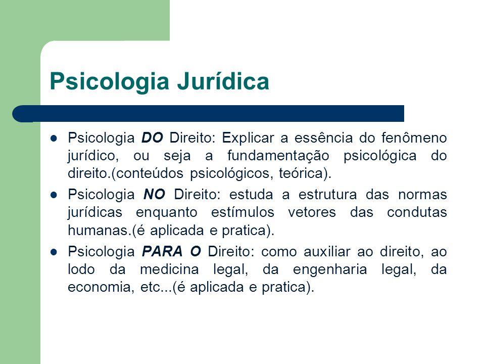 Psicologia Jurídica Psicologia DO Direito: Explicar a essência do fenômeno jurídico, ou seja a fundamentação psicológica do direito.(conteúdos psicoló