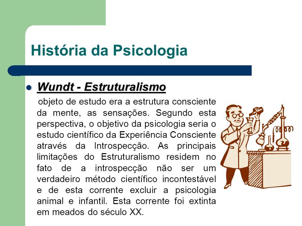 História da Psicologia Wundt - Estruturalismo Wundt - Estruturalismo objeto de estudo era a estrutura consciente da mente, as sensações. Segundo esta