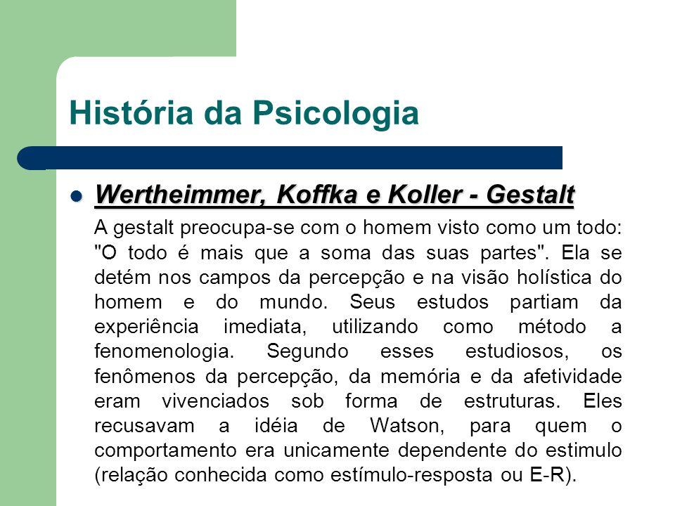 História da Psicologia Wertheimmer, Koffka e Koller - Gestalt Wertheimmer, Koffka e Koller - Gestalt A gestalt preocupa-se com o homem visto como um t