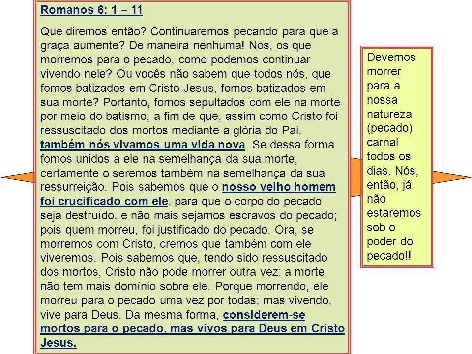 Romanos 6: 1 – 11 Que diremos então? Continuaremos pecando para que a graça aumente? De maneira nenhuma! Nós, os que morremos para o pecado, como pode