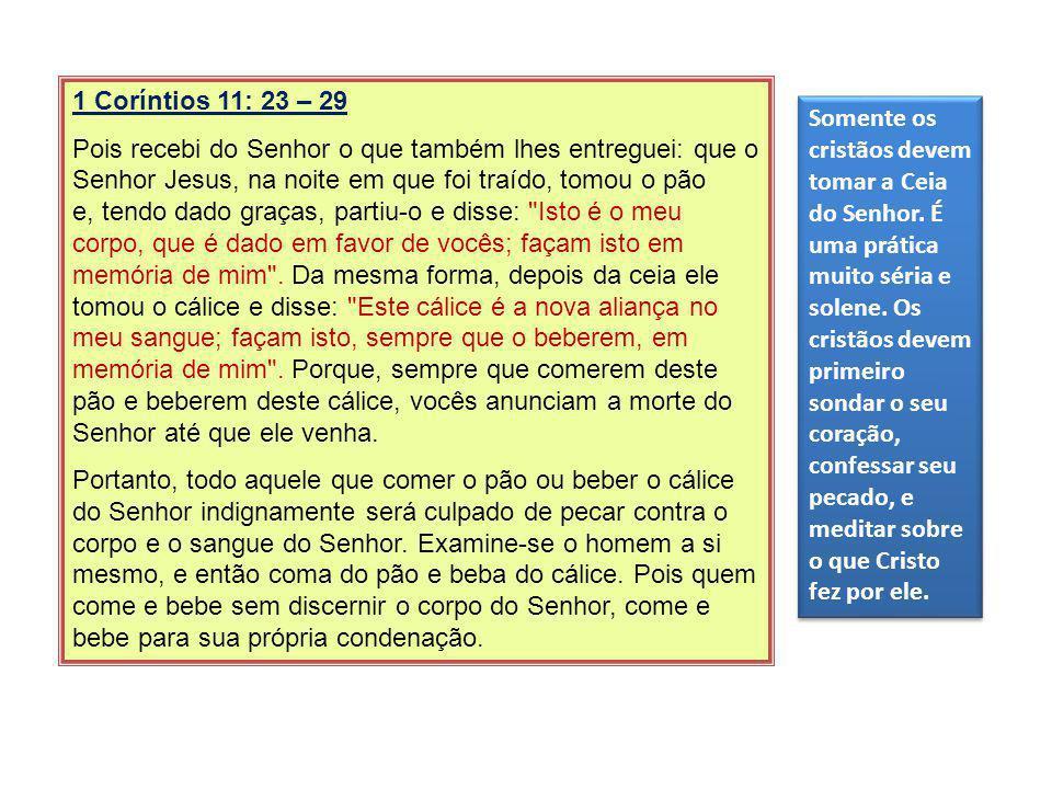 1 Coríntios 11: 23 – 29 Pois recebi do Senhor o que também lhes entreguei: que o Senhor Jesus, na noite em que foi traído, tomou o pão e, tendo dado g