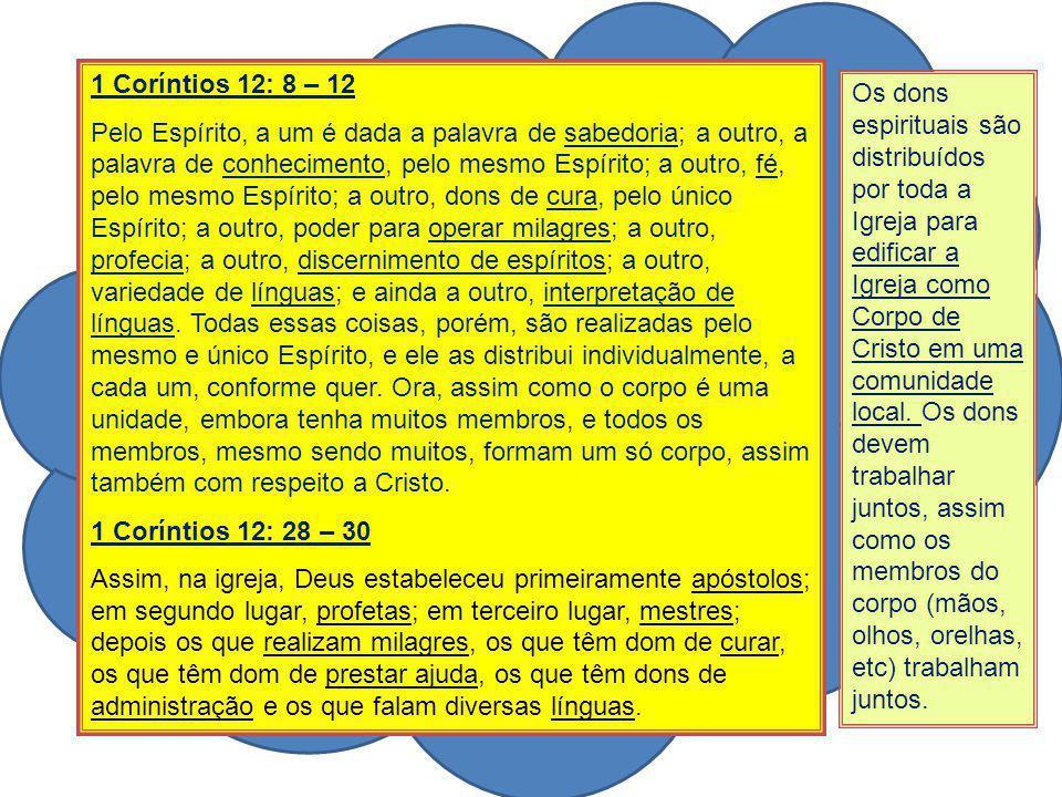 1 Coríntios 12: 8 – 12 Pelo Espírito, a um é dada a palavra de sabedoria; a outro, a palavra de conhecimento, pelo mesmo Espírito; a outro, fé, pelo m