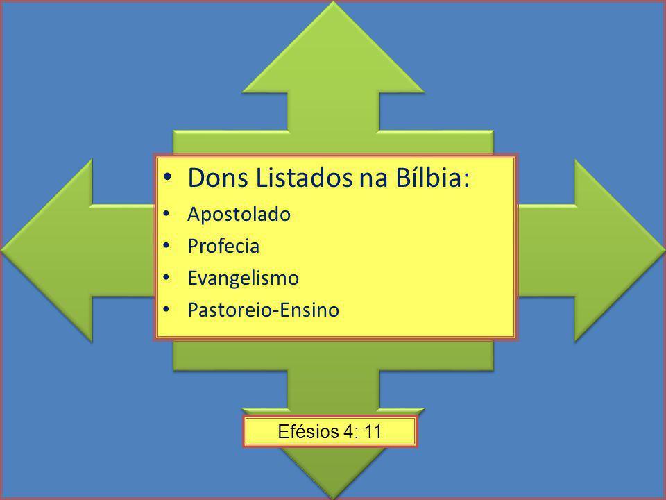 Dons Listados na Bílbia: Apostolado Profecia Evangelismo Pastoreio-Ensino Efésios 4: 11