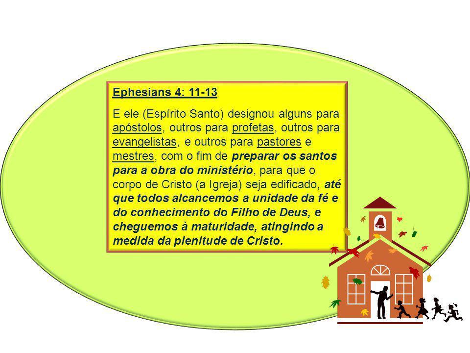 Ephesians 4: 11-13 E ele (Espírito Santo) designou alguns para apóstolos, outros para profetas, outros para evangelistas, e outros para pastores e mes