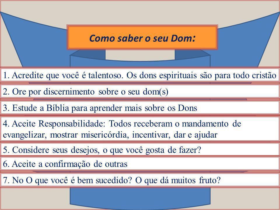 Como saber o seu Dom : 1. Acredite que você é talentoso. Os dons espirituais são para todo cristão 2. Ore por discernimento sobre o seu dom(s) 3. Estu