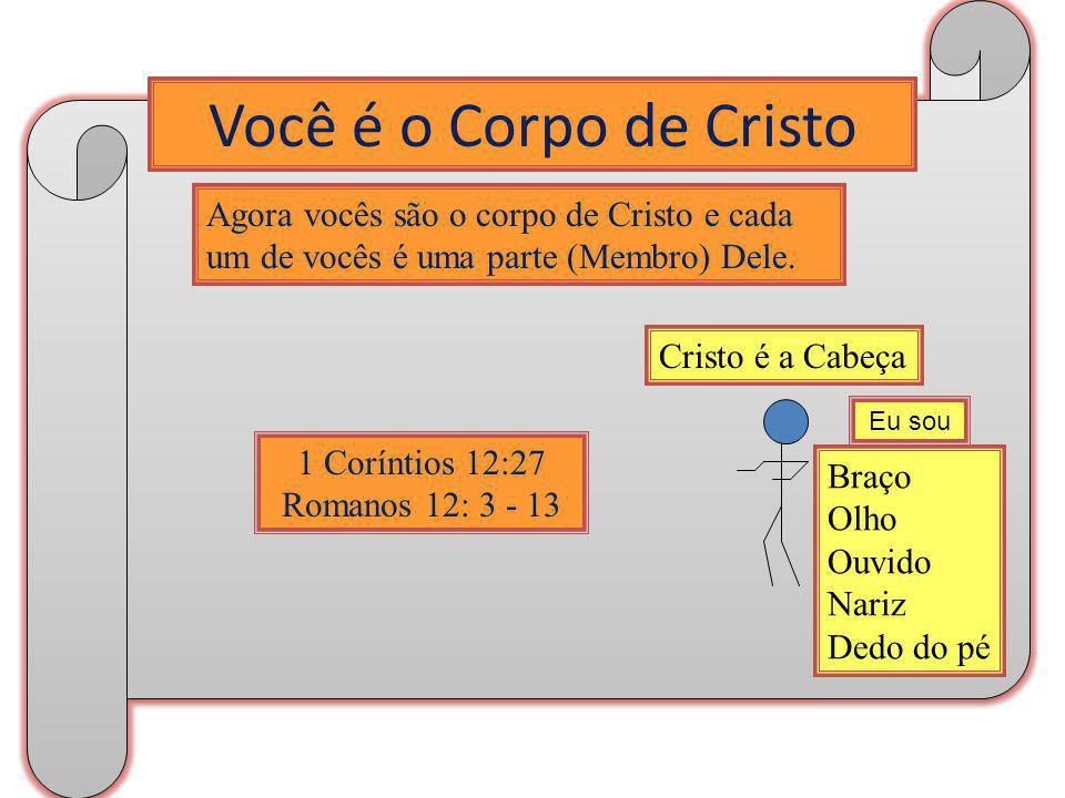 Você é o Corpo de Cristo Agora vocês são o corpo de Cristo e cada um de vocês é uma parte (Membro) Dele. 1 Coríntios 12:27 Romanos 12: 3 - 13 Braço Ol