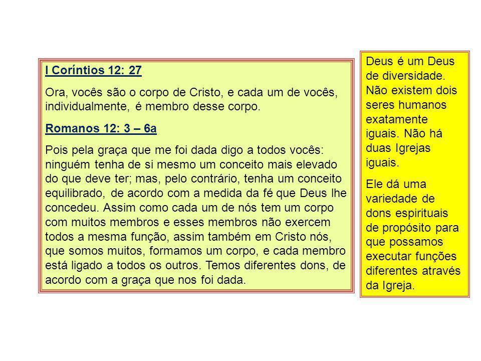 I Coríntios 12: 27 Ora, vocês são o corpo de Cristo, e cada um de vocês, individualmente, é membro desse corpo. Romanos 12: 3 – 6a Pois pela graça que