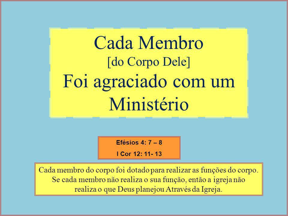 Cada Membro [do Corpo Dele] Foi agraciado com um Ministério Cada membro do corpo foi dotado para realizar as funções do corpo. Se cada membro não real