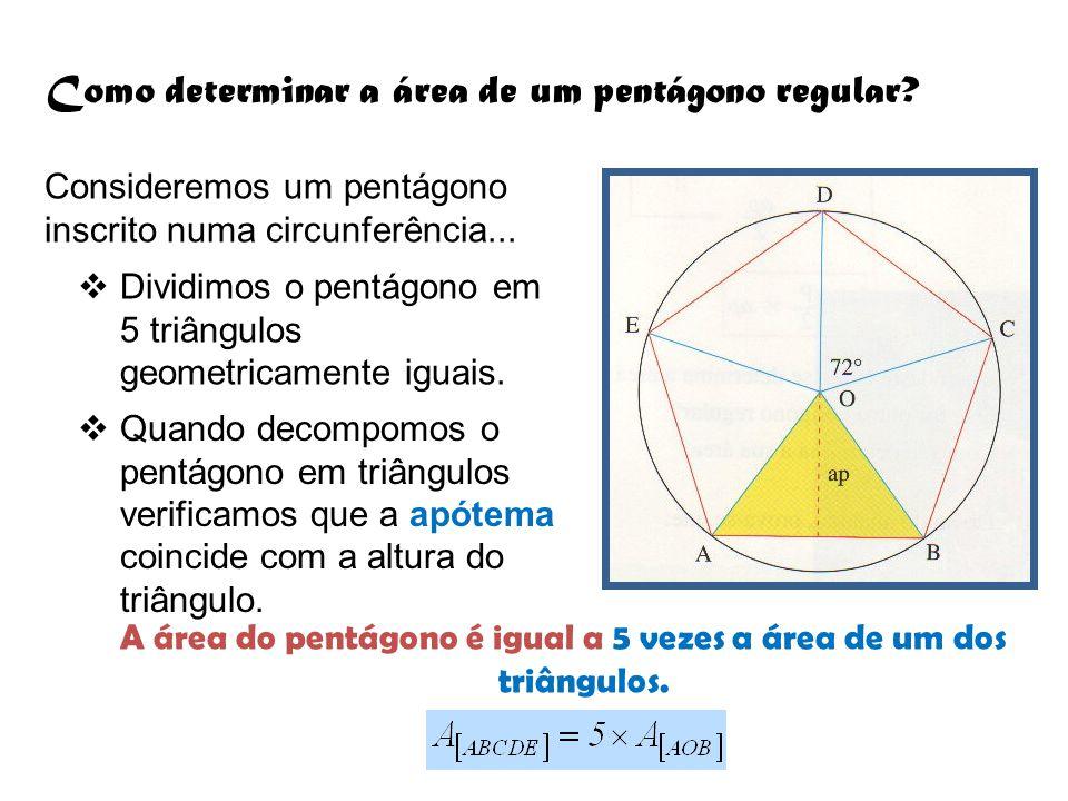 Como determinar a área de um pentágono regular? Consideremos um pentágono inscrito numa circunferência...  Dividimos o pentágono em 5 triângulos geom