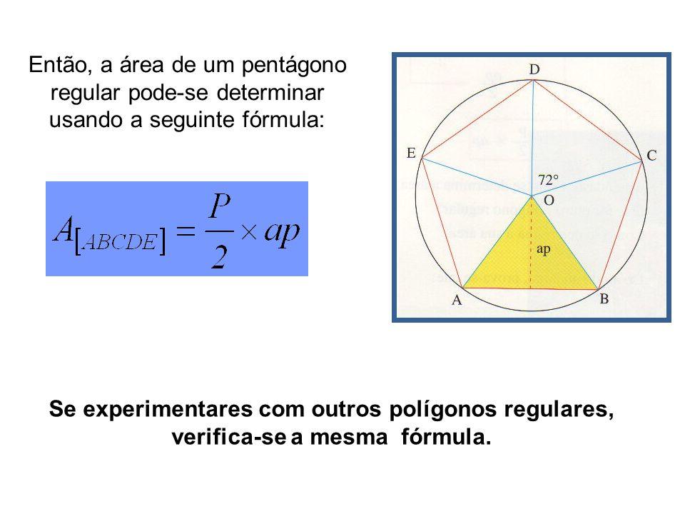 Então, a área de um pentágono regular pode-se determinar usando a seguinte fórmula: Se experimentares com outros polígonos regulares, verifica-se a me