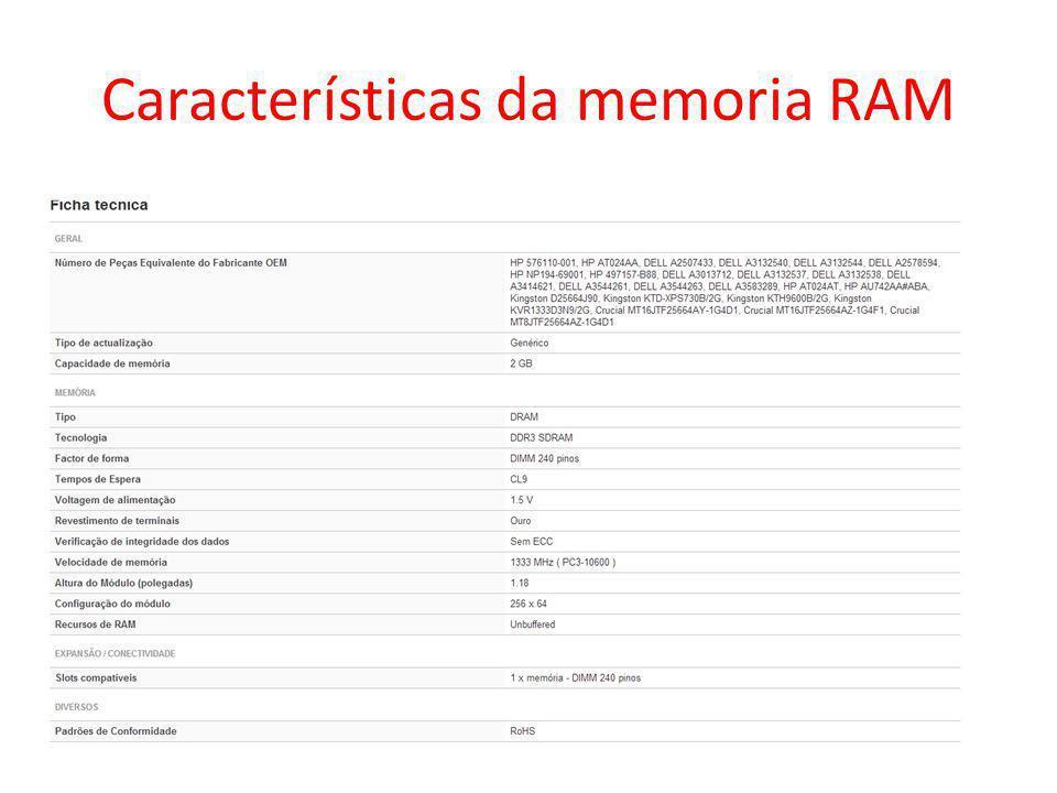 Características da memoria RAM
