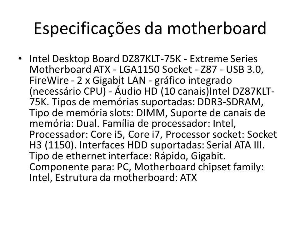 Especificações da motherboard Intel Desktop Board DZ87KLT-75K - Extreme Series Motherboard ATX - LGA1150 Socket - Z87 - USB 3.0, FireWire - 2 x Gigabi