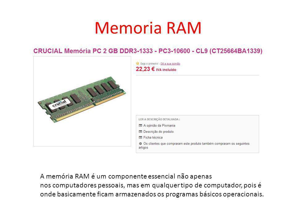 Memoria RAM A memória RAM é um componente essencial não apenas nos computadores pessoais, mas em qualquer tipo de computador, pois é onde basicamente