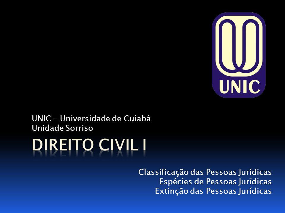 UNIC – Universidade de Cuiabá Unidade Sorriso Classificação das Pessoas Jurídicas Espécies de Pessoas Jurídicas Extinção das Pessoas Jurídicas