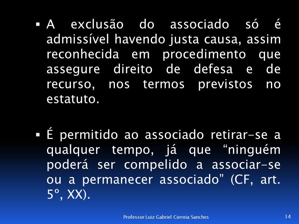  A exclusão do associado só é admissível havendo justa causa, assim reconhecida em procedimento que assegure direito de defesa e de recurso, nos term