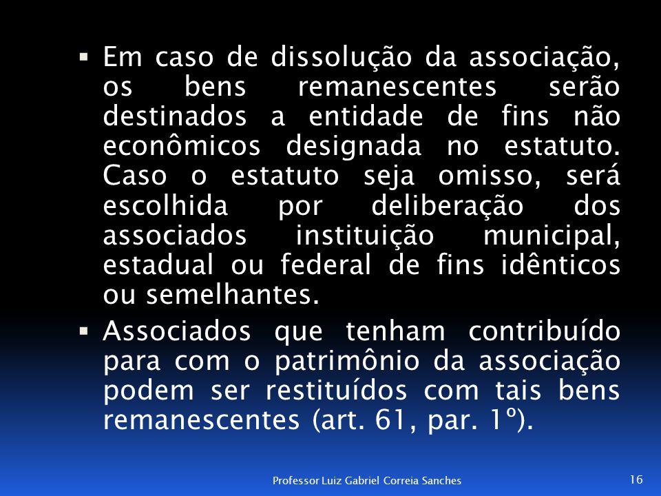  Em caso de dissolução da associação, os bens remanescentes serão destinados a entidade de fins não econômicos designada no estatuto. Caso o estatuto
