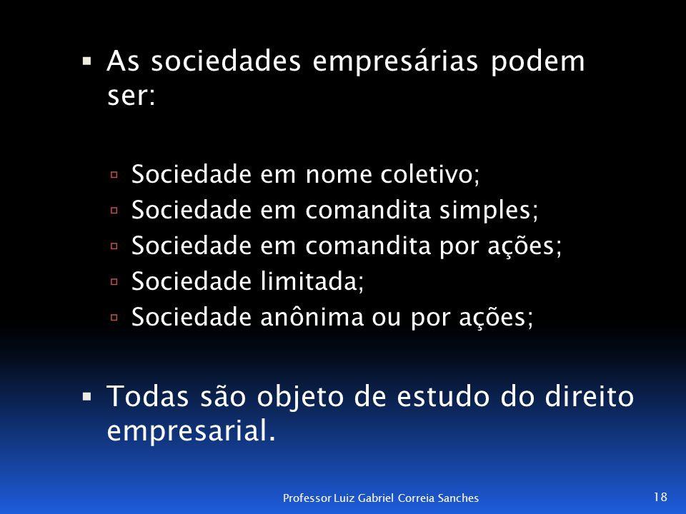  As sociedades empresárias podem ser:  Sociedade em nome coletivo;  Sociedade em comandita simples;  Sociedade em comandita por ações;  Sociedade