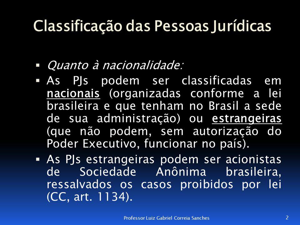 Classificação das Pessoas Jurídicas  Quanto à nacionalidade:  As PJs podem ser classificadas em nacionais (organizadas conforme a lei brasileira e q