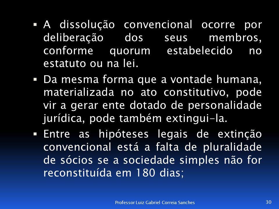  A dissolução convencional ocorre por deliberação dos seus membros, conforme quorum estabelecido no estatuto ou na lei.  Da mesma forma que a vontad