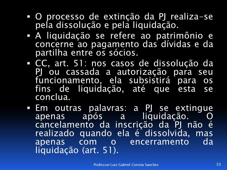  O processo de extinção da PJ realiza-se pela dissolução e pela liquidação.  A liquidação se refere ao patrimônio e concerne ao pagamento das dívida