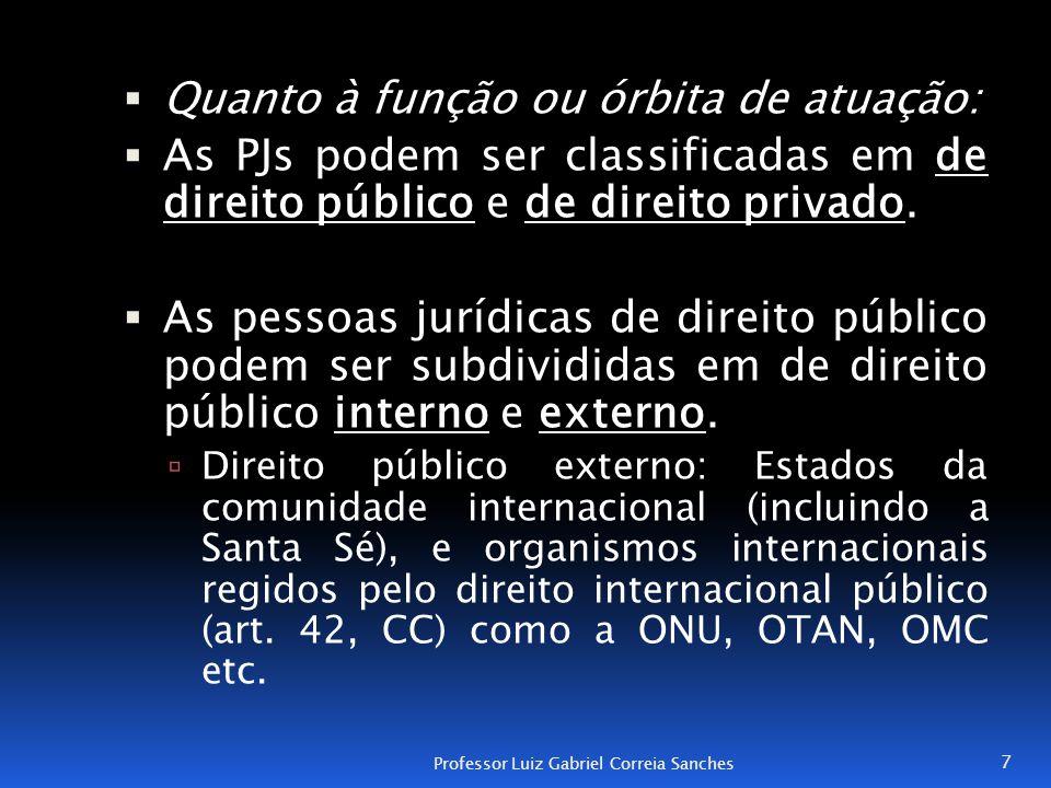  Quanto à função ou órbita de atuação:  As PJs podem ser classificadas em de direito público e de direito privado.  As pessoas jurídicas de direito