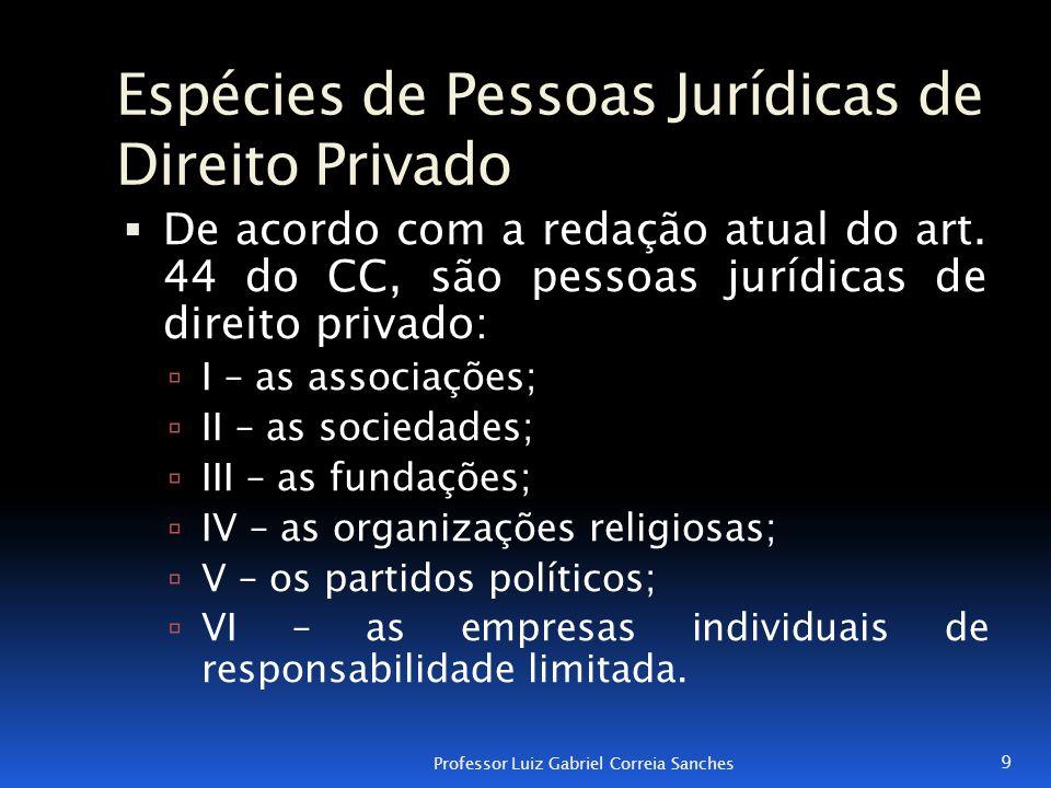 Espécies de Pessoas Jurídicas de Direito Privado  De acordo com a redação atual do art. 44 do CC, são pessoas jurídicas de direito privado:  I – as