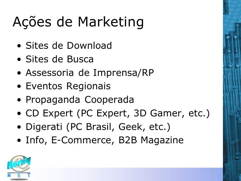 Ações de Marketing Sites de Download Sites de Busca Assessoria de Imprensa/RP Eventos Regionais Propaganda Cooperada CD Expert (PC Expert, 3D Gamer, e