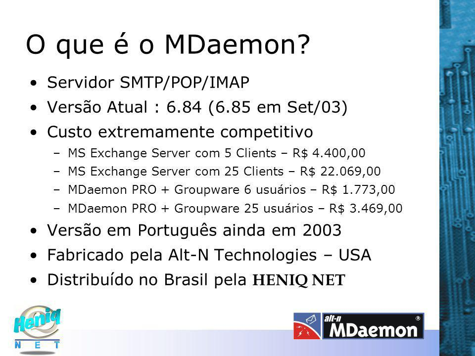 O que é o MDaemon? Servidor SMTP/POP/IMAP Versão Atual : 6.84 (6.85 em Set/03) Custo extremamente competitivo –MS Exchange Server com 5 Clients – R$ 4
