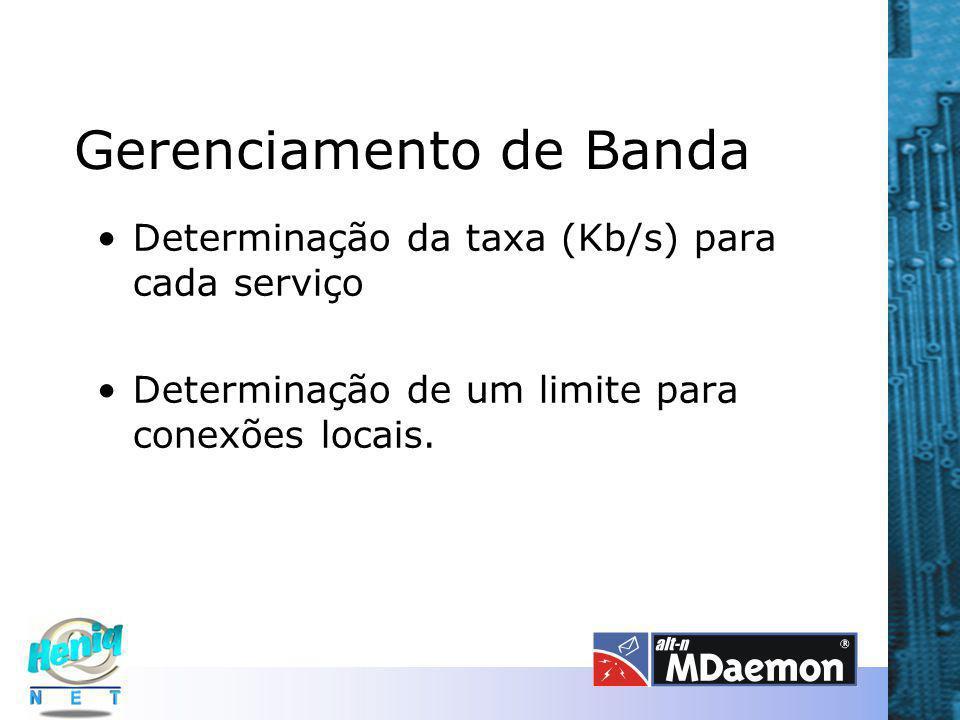 Gerenciamento de Banda Determinação da taxa (Kb/s) para cada serviço Determinação de um limite para conexões locais.