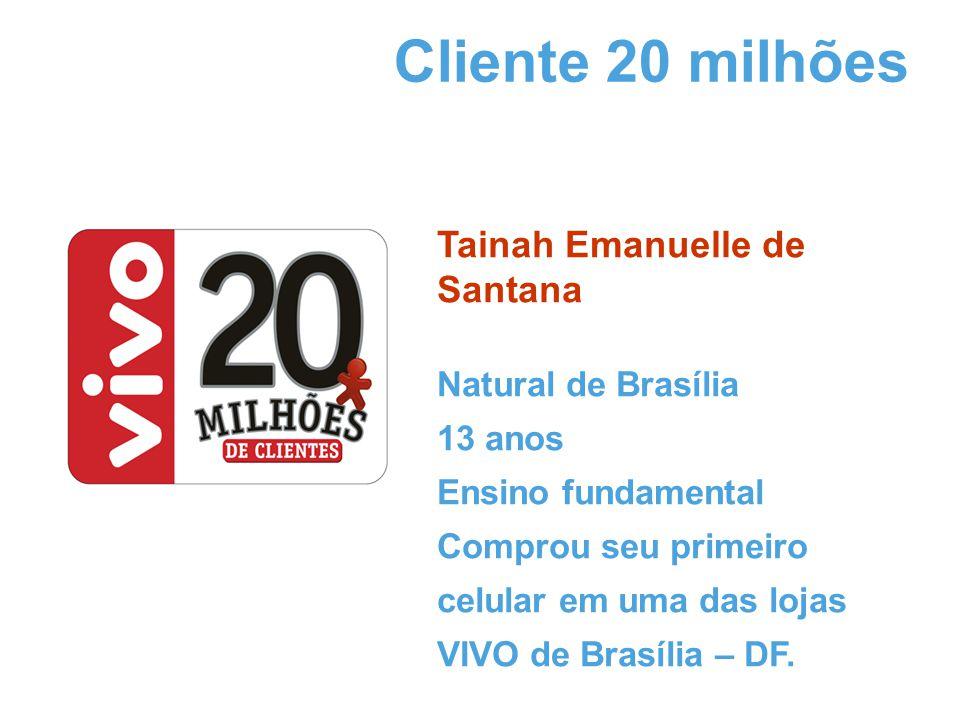 Tainah Emanuelle de Santana Natural de Brasília 13 anos Ensino fundamental Comprou seu primeiro celular em uma das lojas VIVO de Brasília – DF.