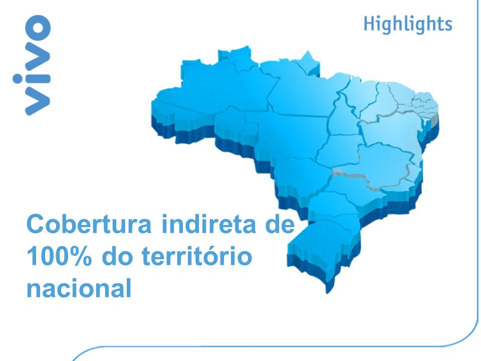 Cobertura indireta de 100% do território nacional