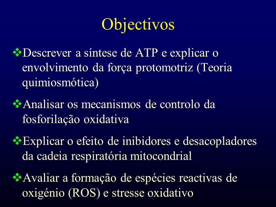 Objectivos  Descrever a síntese de ATP e explicar o envolvimento da força protomotriz (Teoria quimiosmótica)  Analisar os mecanismos de controlo da