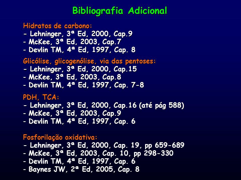 Bibliografia Adicional Hidratos de carbono: - Lehninger, 3ª Ed, 2000, Cap.9 - McKee, 3ª Ed, 2003, Cap.7 - Devlin TM, 4ª Ed, 1997, Cap. 8 Glicólise, gl