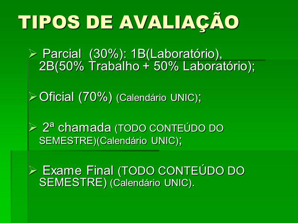 TIPOS DE AVALIAÇÃO  Parcial (30%): 1B(Laboratório), 2B(50% Trabalho + 50% Laboratório);  Oficial (70%) (Calendário UNIC) ;  2ª chamada (TODO CONTEÚDO DO SEMESTRE)(Calendário UNIC) ;  Exame Final (TODO CONTEÚDO DO SEMESTRE) (Calendário UNIC).