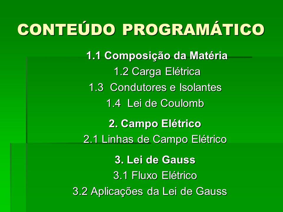 CONTEÚDO PROGRAMÁTICO 1.1 Composição da Matéria 1.2 Carga Elétrica 1.3 Condutores e Isolantes 1.4 Lei de Coulomb 2.