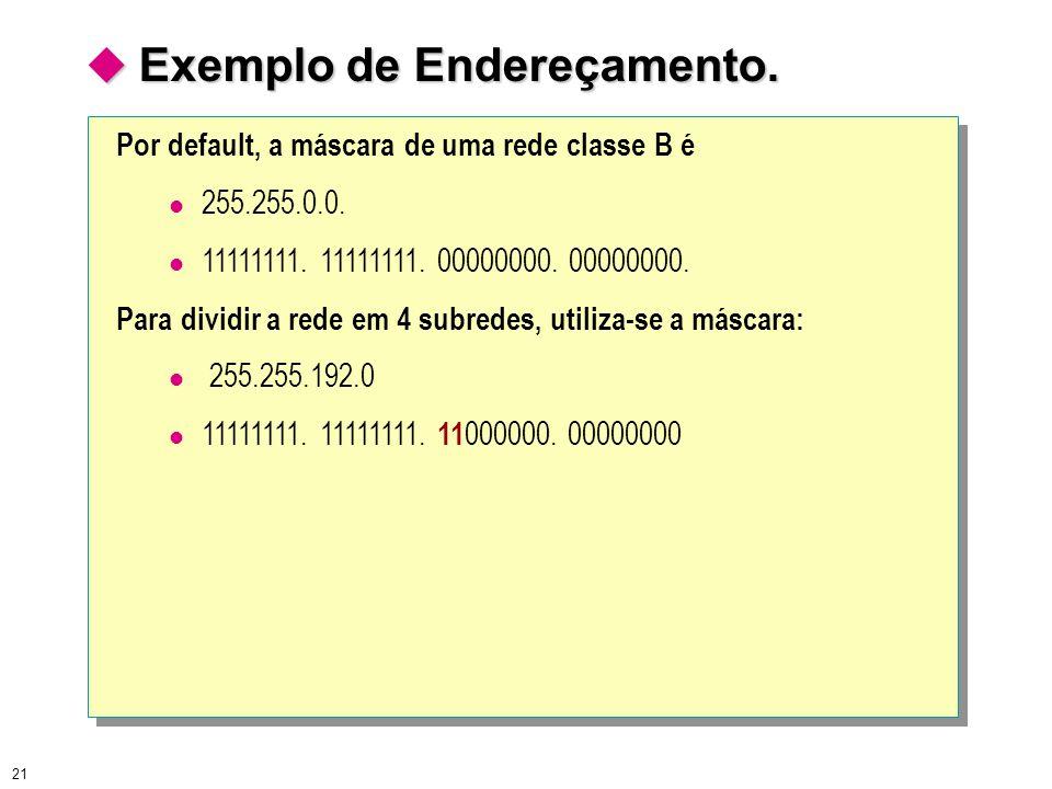 21  Exemplo de Endereçamento. Por default, a máscara de uma rede classe B é 255.255.0.0. 11111111. 11111111. 00000000. 00000000. Para dividir a rede