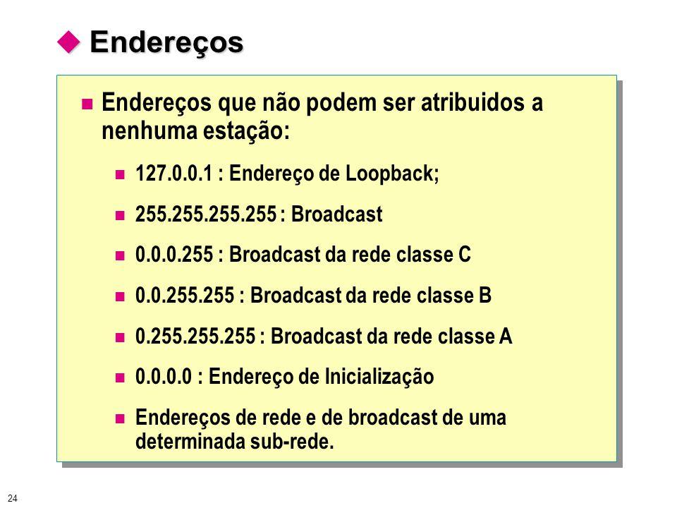 24  Endereços Endereços que não podem ser atribuidos a nenhuma estação: 127.0.0.1 : Endereço de Loopback; 255.255.255.255 : Broadcast 0.0.0.255 : Bro