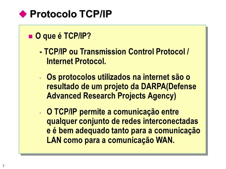 3  Protocolo TCP/IP O que é TCP/IP? - TCP/IP ou Transmission Control Protocol / Internet Protocol. - Os protocolos utilizados na internet são o resul