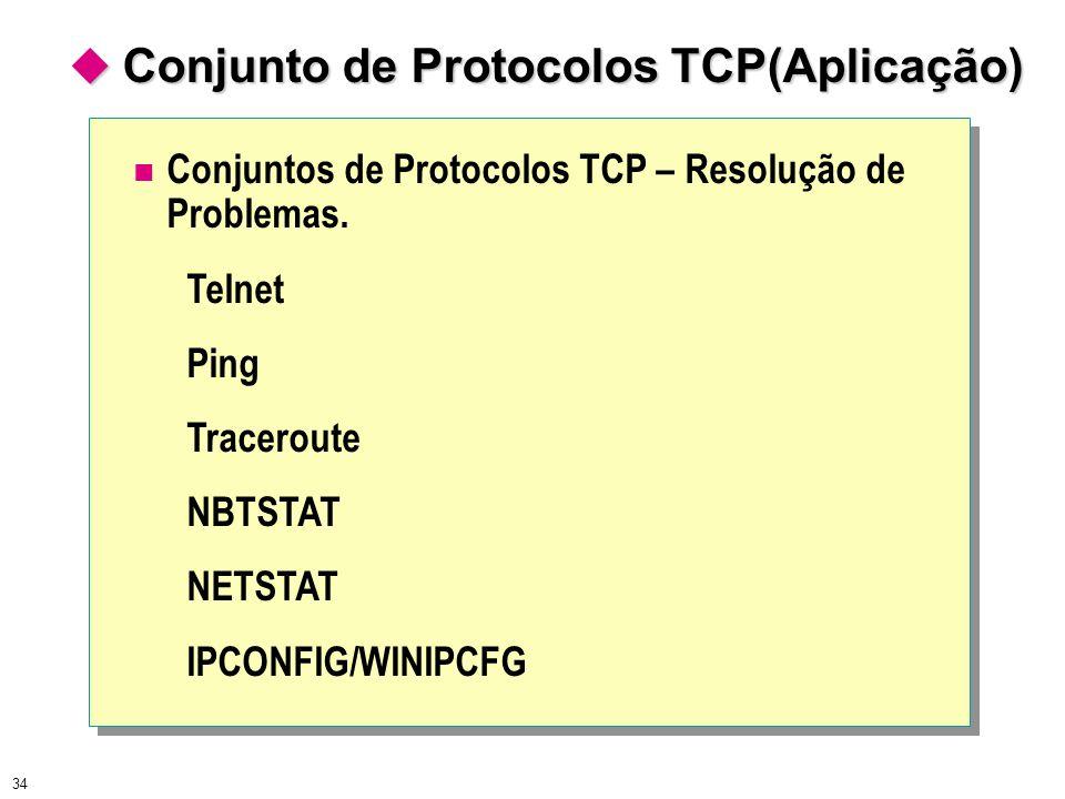 34 Conjuntos de Protocolos TCP – Resolução de Problemas. Telnet Ping Traceroute NBTSTAT NETSTAT IPCONFIG/WINIPCFG  Conjunto de Protocolos TCP(Aplicaç