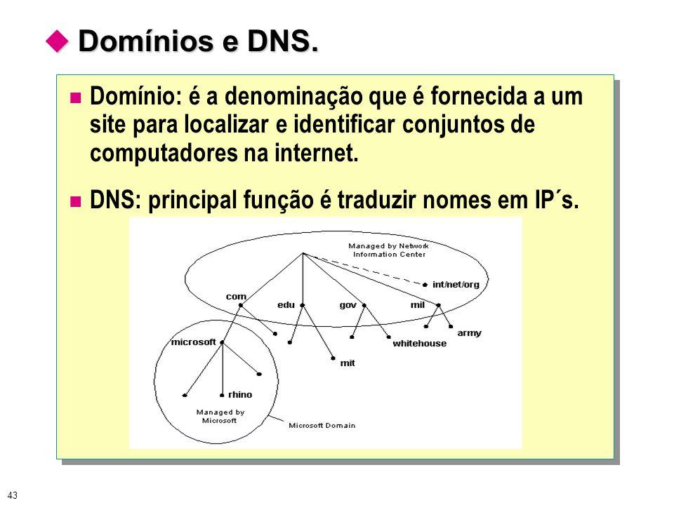 43  Domínios e DNS. Domínio: é a denominação que é fornecida a um site para localizar e identificar conjuntos de computadores na internet. DNS: princ