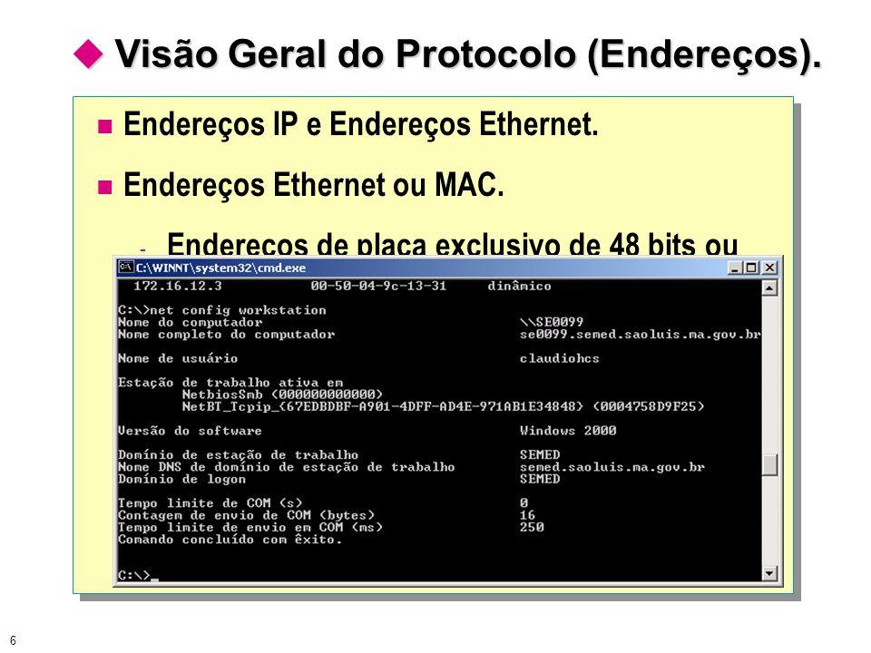 6  Visão Geral do Protocolo (Endereços). Endereços IP e Endereços Ethernet. Endereços Ethernet ou MAC. - Endereços de placa exclusivo de 48 bits ou 1