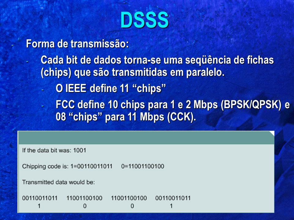 """- Forma de transmissão: - Cada bit de dados torna-se uma seqüência de fichas (chips) que são transmitidas em paralelo. - O IEEE define 11 """"chips"""" - FC"""