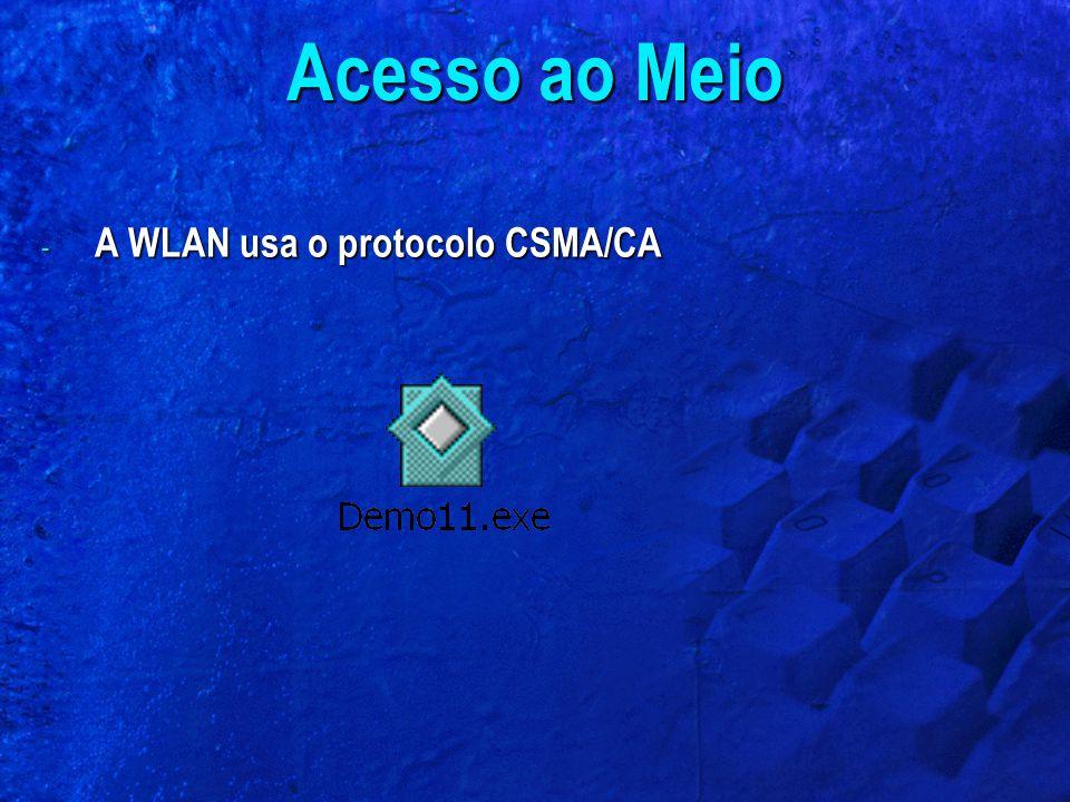 - A WLAN usa o protocolo CSMA/CA Acesso ao Meio