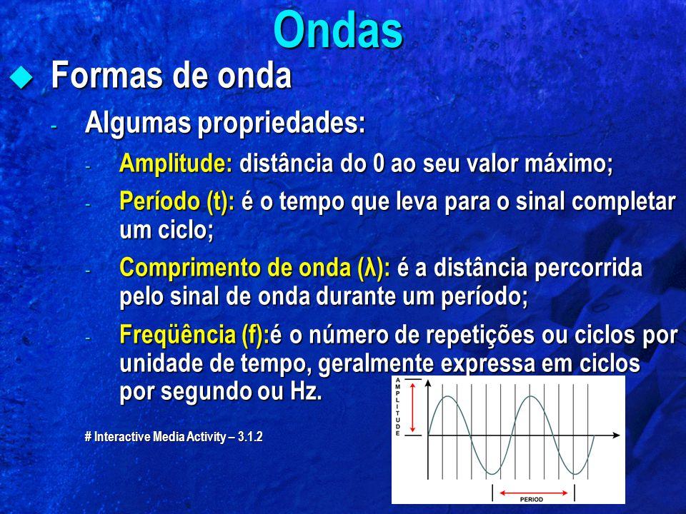  Formas de onda - Algumas propriedades: - Amplitude: distância do 0 ao seu valor máximo; - Período (t): é o tempo que leva para o sinal completar um