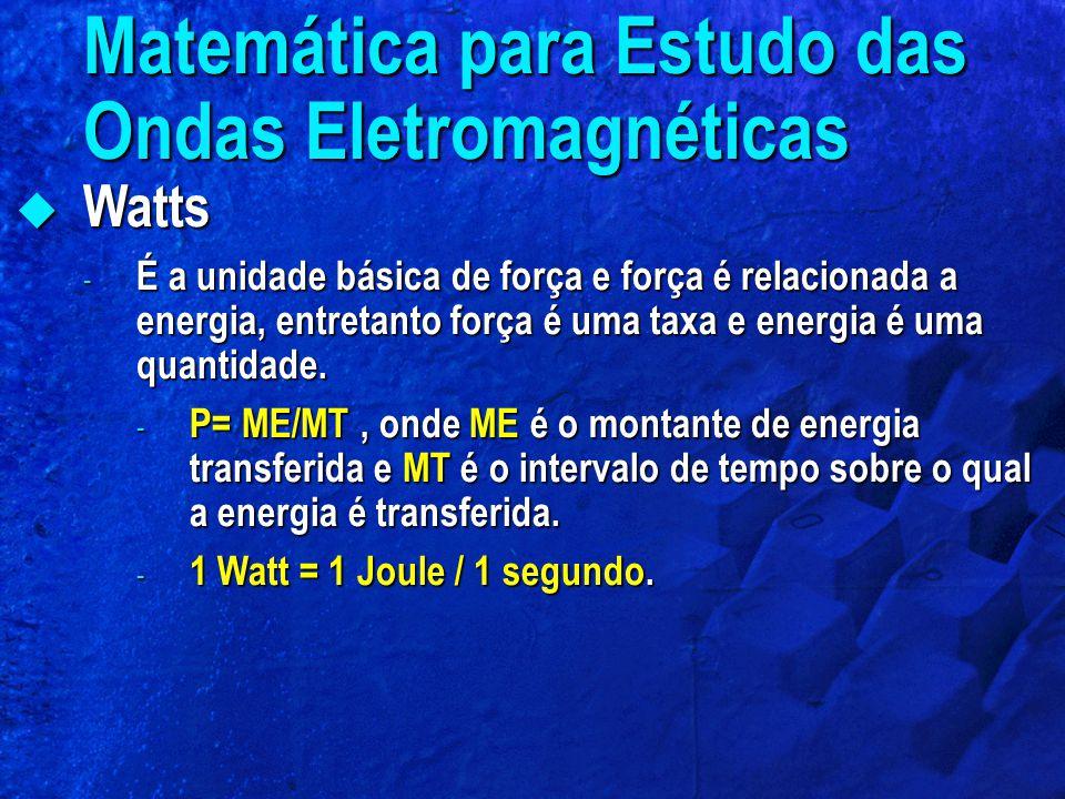  Watts - É a unidade básica de força e força é relacionada a energia, entretanto força é uma taxa e energia é uma quantidade. - P= ME/MT, onde ME é o